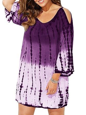 Geckatte Womens Plus Size Cover Up Dress Cold Shoulder Bathing Suit
