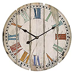 23 Vintage Inspired Wood Slats Colorful Wall Clock