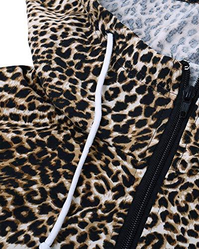 SOLERSUN Women's Casual Long Sleeve Leopard Hoodies Sweatshirt Zip Color Block Pullover Tops with Pockets