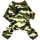 Fitwarm Stylish Army Green Camouflage Dog Shirts Jumpsuit for Pet Cat Camo Clothes Apparel