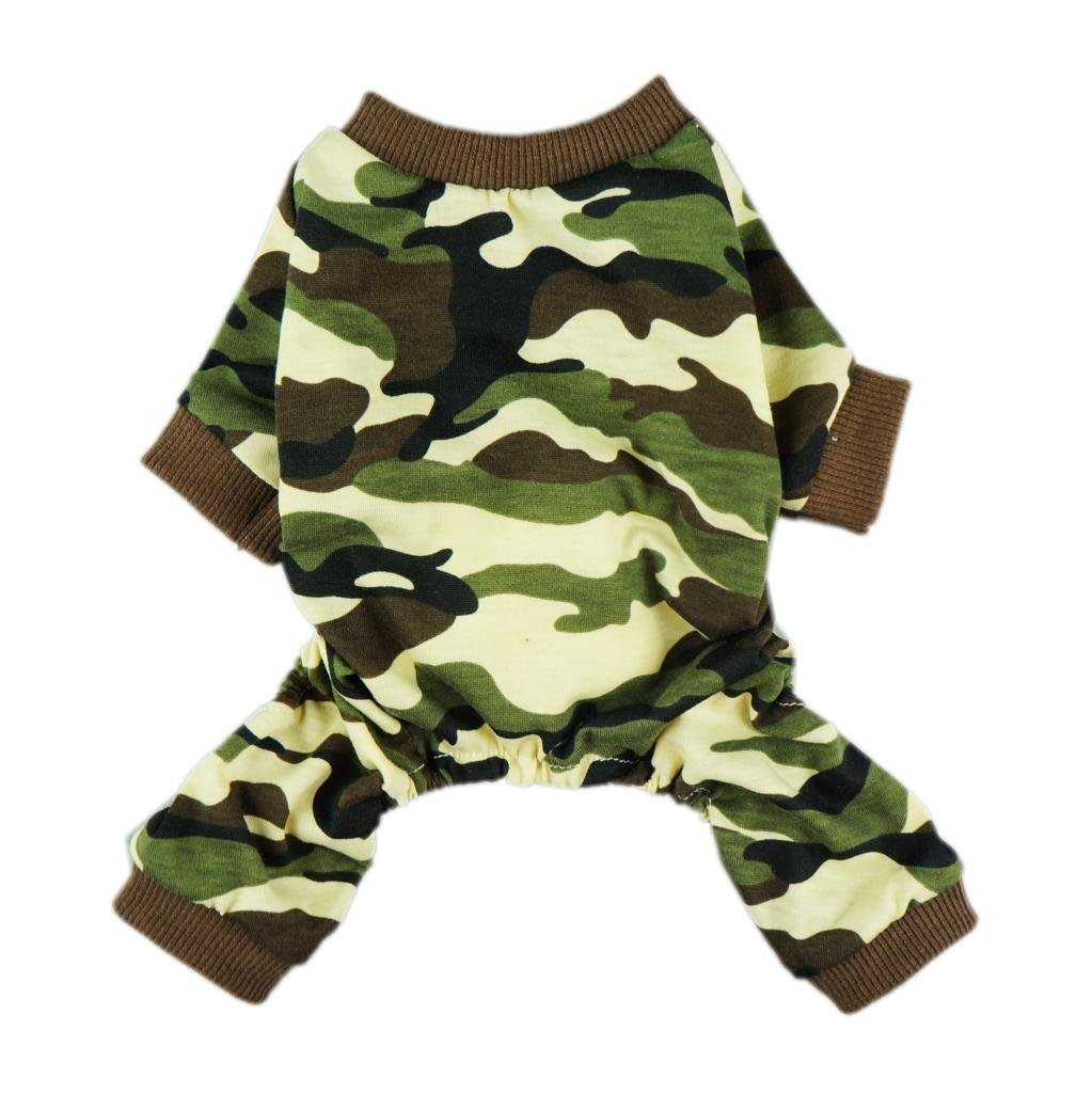 Fitwarm Stylish Army Green Camouflage Dog Shirts Jumpsuit for Pet Cat Camo Clothes Apparel, Medium