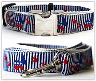 "product image for Diva-Dog 'Democrat Doggie' Custom Small Dog 5/8"" Wide Dog Collar with Plain or Engraved Buckle, Matching Leash Available - Teacup, XS/S"