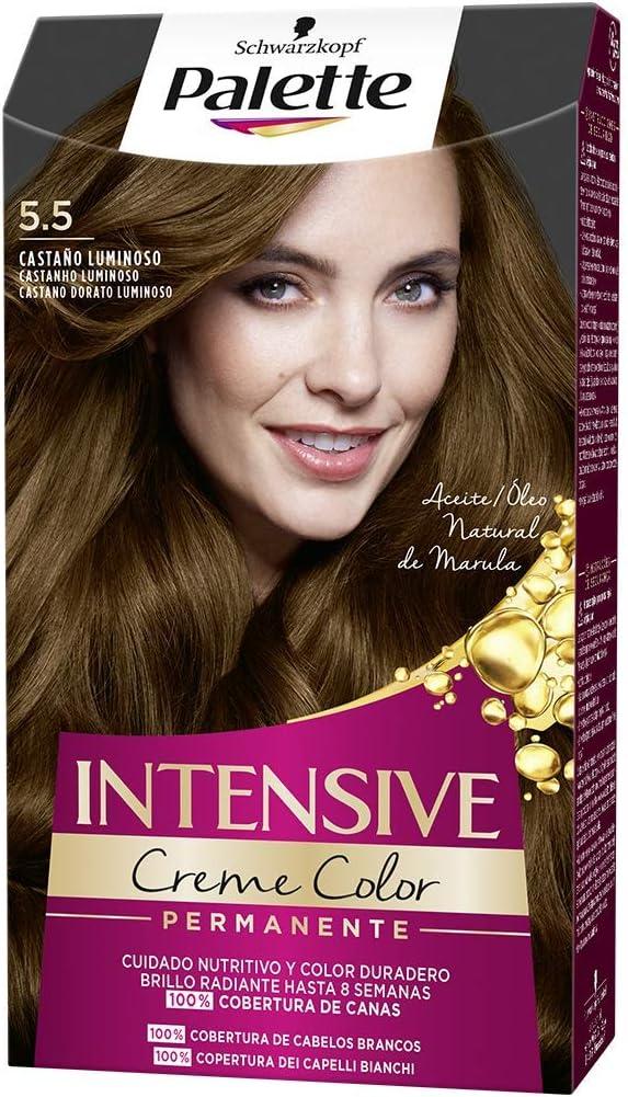 Schwarzkopf Palette Intensive Creme Color – Tono 5.5 cabello Castaño Luminoso - Coloración Permanente de Cuidado con Aceite de Marula – Óptima ...