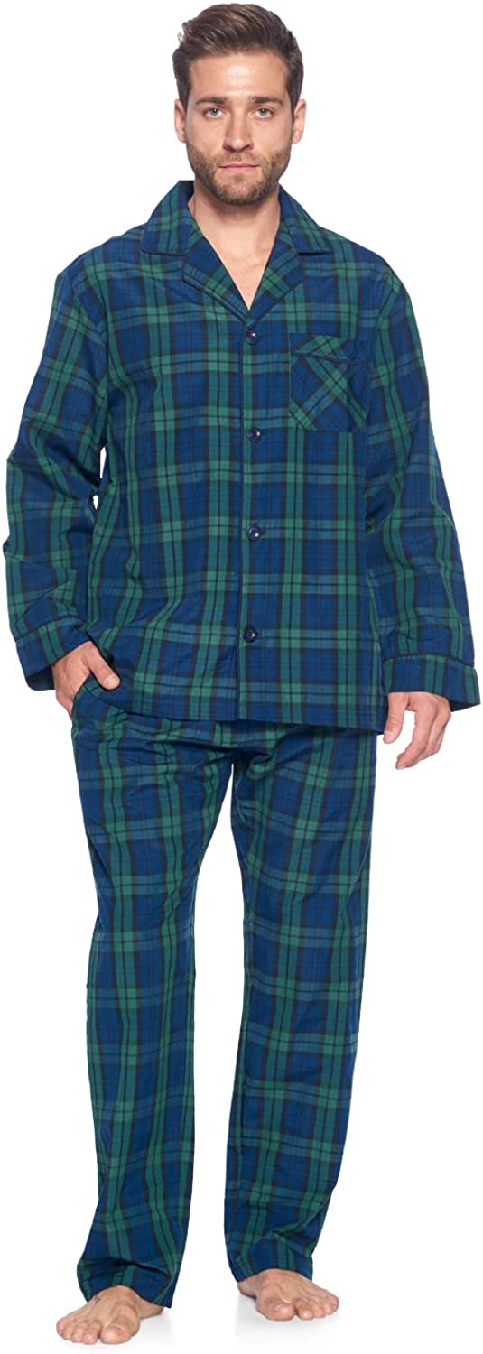 Ashford & Brooks Men's Long Sleeve Pajamas Set | Woven Plaid Sleepwear & Loungewear Button Down PJ Set
