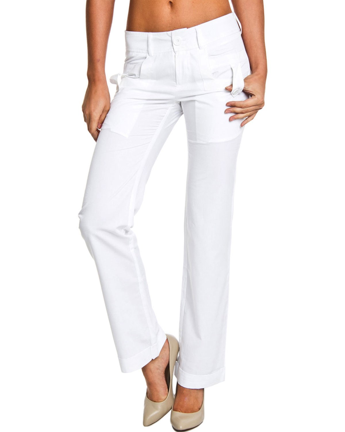 Style NY Women's Button Tab Skinny Fashion Pants - White - 6
