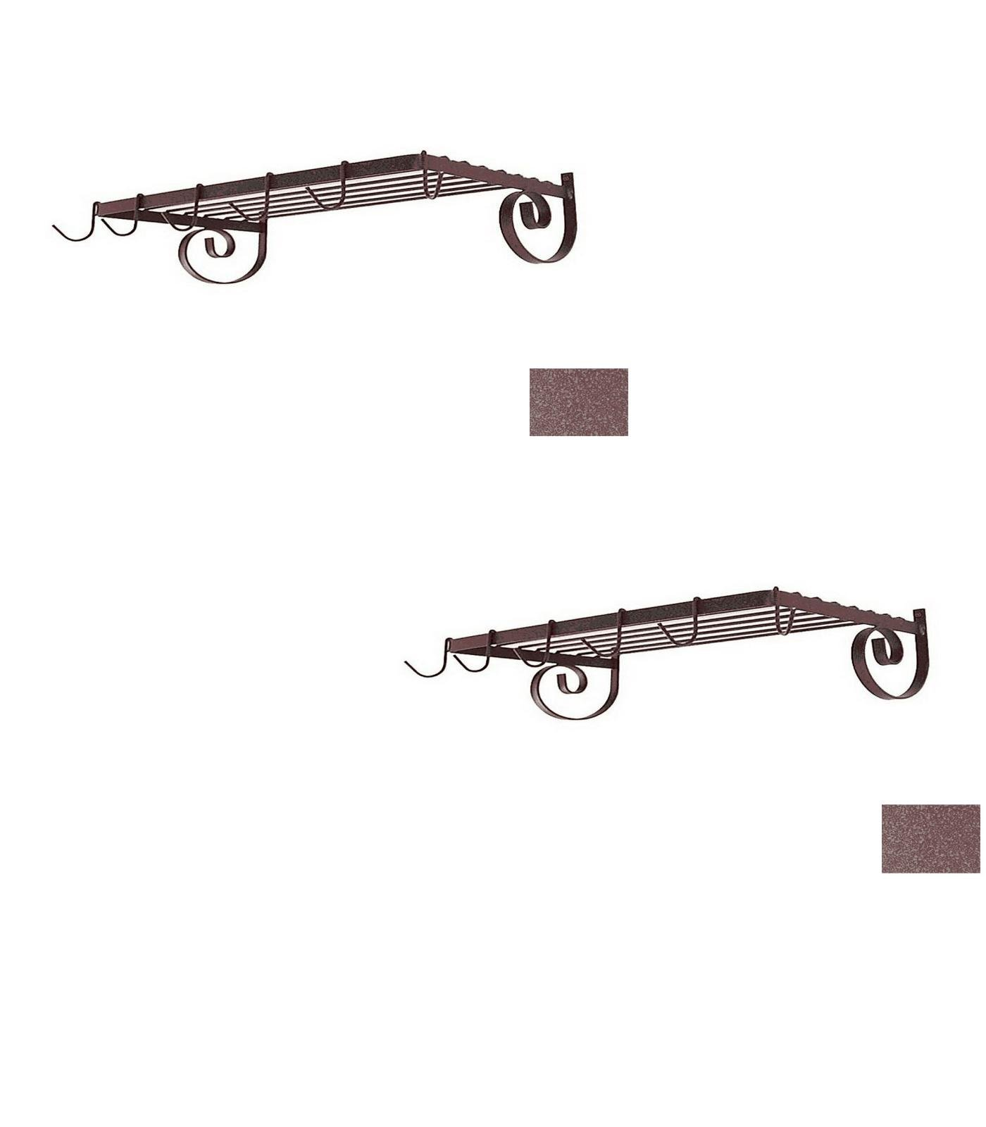 24-1/2-in x 13-in Burnished Copper Rectangle Pot Rack - Grace Collection Model - GMC-WR24-BC - Set of 2 Gift Bundle by Grace Collection