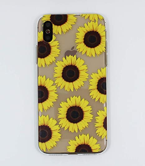 check out 46a42 62a8c Cute Clear Case for iPhone Xs/iPhone X, Sunflower Design Flexible TPU  Shockproof Transparent Girls and Women Floral Back Cover, Flower Protective  Case ...