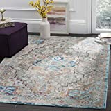 Safavieh Aria Collection ARA119E Beige and Blue Abstract Area Rug (8′ x 10′)
