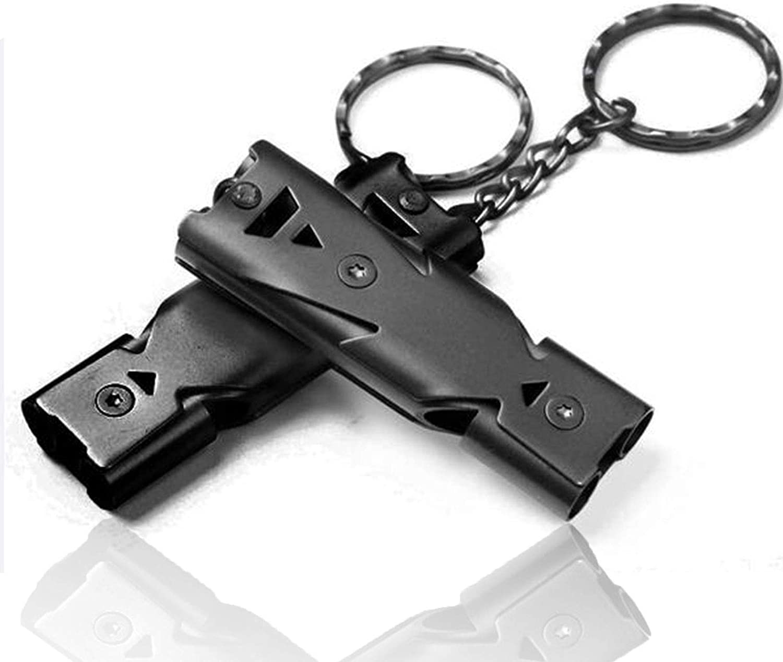 CathEU Notfallpfeife Notfall Survival Pfeife Doppelrohr Sicherheit Doppelrohr Lebensrettende Aluminium Pfei