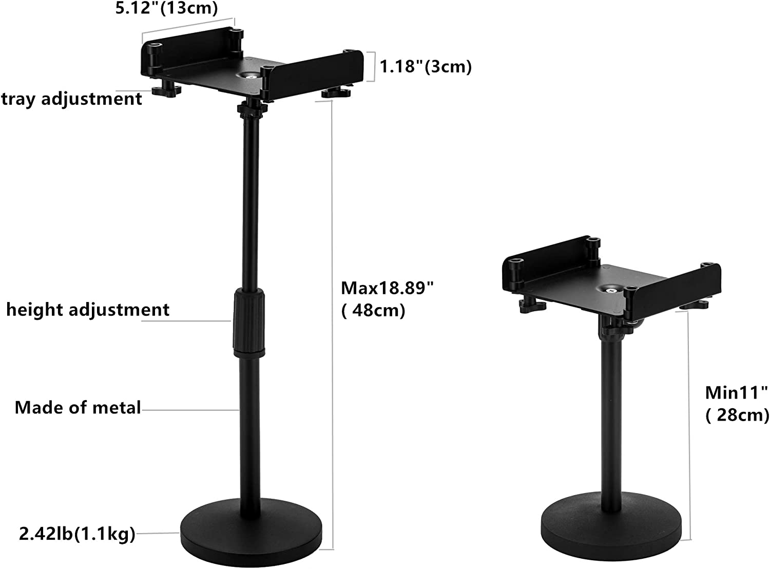 29cm-48cm Compatible with Echo Show 8//10 JTACHIONG Desktop Metal Stand for Echo Show 10 Table Stand with Stable Base /& Anti-Slip Carabiners for Smart Home Speakers Height Adjustable Echo Studio