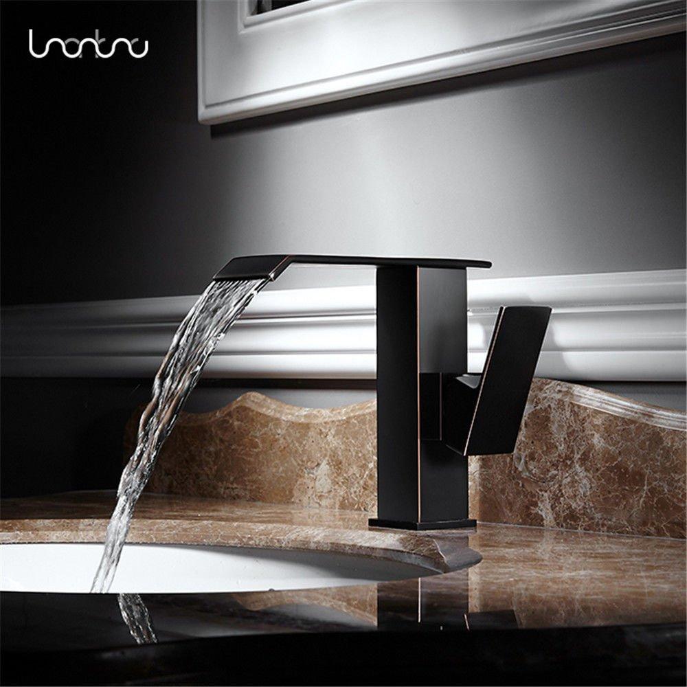 AQiMM Waschtischarmatur Wasserhahn Waschbecken Retro Heiss & Kalt Wasser Voll Kupfer Schwarz Badezimmer Mischbatterie