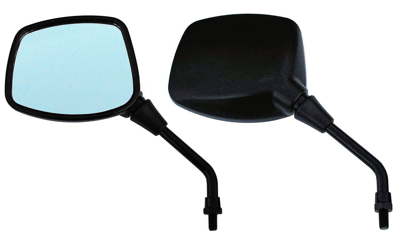 Hoosier Garage - Pair of Black Square Head Motorcycle Mirrors - Honda, Kawasaki, Suzuki, Victory