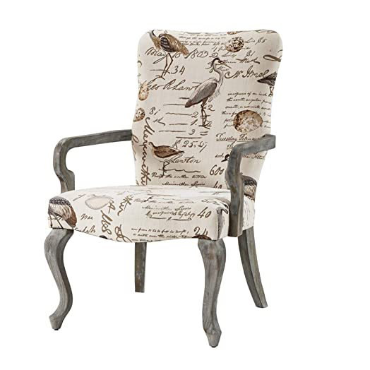 Madison Park Multi Arnau Goose Neck Arm Chair Ivory See