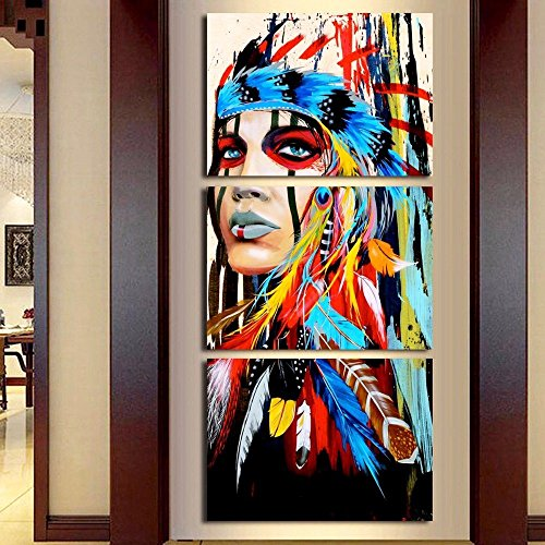 3 Piece Artwork Black and White Canvas Beauty Painting Native Indian Maiden American Girl Feathered Women Modernism Home Wall Decor Picture Art HD Print Painting On Canvas,Framed(24''Wx48''H) ()