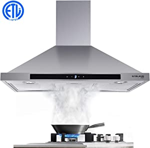 "36"" Range Hood, GASLAND Chef PR36SS 36-inch Stainless Steel Wall Mount Kitchen Hood, 3 Speed 450-CFM Sensor Touch Control Exhaust Hood Fan, Convertible Chimney-Style, LED Lights, Aluminum Mesh Filters"
