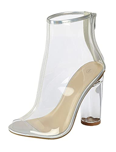 Women's Peep Toe Clear Lucite See Through Chunky Round High Heel Ankle Bootie