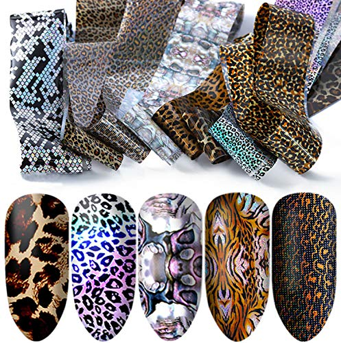 Banamic Leopard Design Glitter Nail Art Stickers Tips Full Wraps Foil Transfer Adhesive Nail Decals DIY