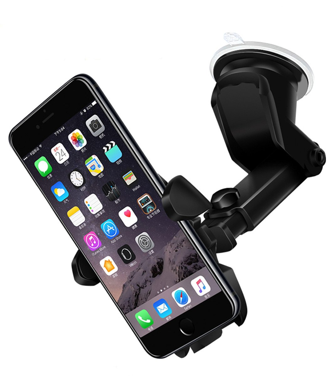 Stable Car Mount Phone Holder,Universal Windscreen Dashboard Mobile Phone Mount Car Cradle Suction Cup Adjustable Long Telescopic Arm with Auto Release for iPhone 7 Plus/7/6S Plus/6Plus/6S/6/5,Samsung Galaxy S8 S7 S6 Note 5/4/3 HTC, Nokia,