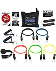 Bodylastics Resistance Bands Sets with Free Online Workouts. Patented Anti-Snap 12pcs, 14pcs, 19pcs and 31pcs Kits with Upgraded Handles, Door Anchor, Legs Ankle Straps, Manual & Bonus 44 Workouts.