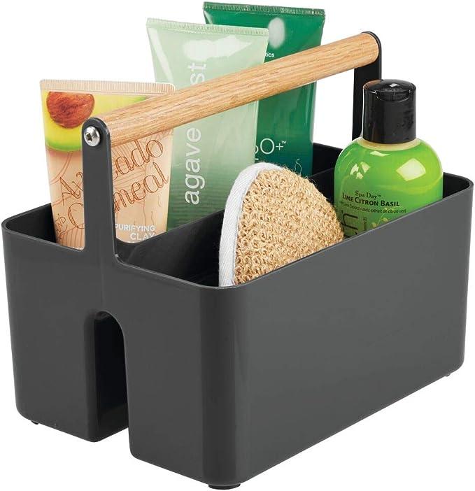 mDesign 2er-Set Kosmetik Organizer mit Griffen Pflegeartikel und Verbandsmaterial durchsichtig Badablage mit 3 F/ächern f/ür Make-up kleine Medikamentenbox aus BPA-freiem Kunststoff