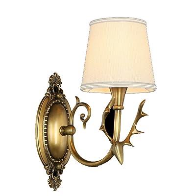 Mur Européen Cerf Style Lampe Américain Corne Cuivre Chambre Salon 35AR4jLq