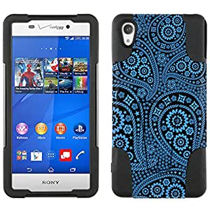 Sony Xperia Z3v Hybrid Case Paisley Blue and Flowers on Black 2 Piece Style Silicone Case Cover with Stand for Sony Xperia Z3v