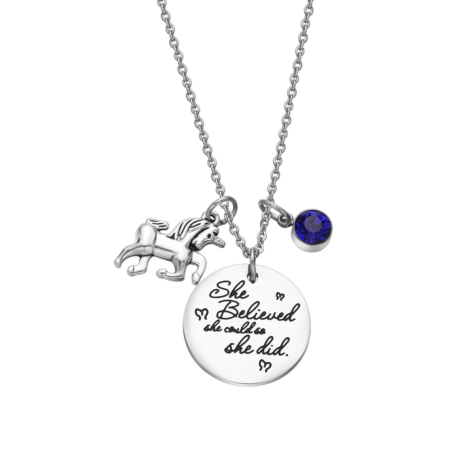 Fullrainbow 2018 Stainless Steel Inspirational Message Heart Necklace Pendant Charm Chain Necklace She Believed She Could So She Did (Sep)