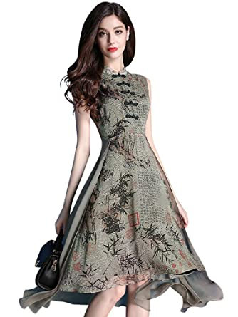 Wincolor Womens Sleeveless Chinese Traditional Floral Printed Slim