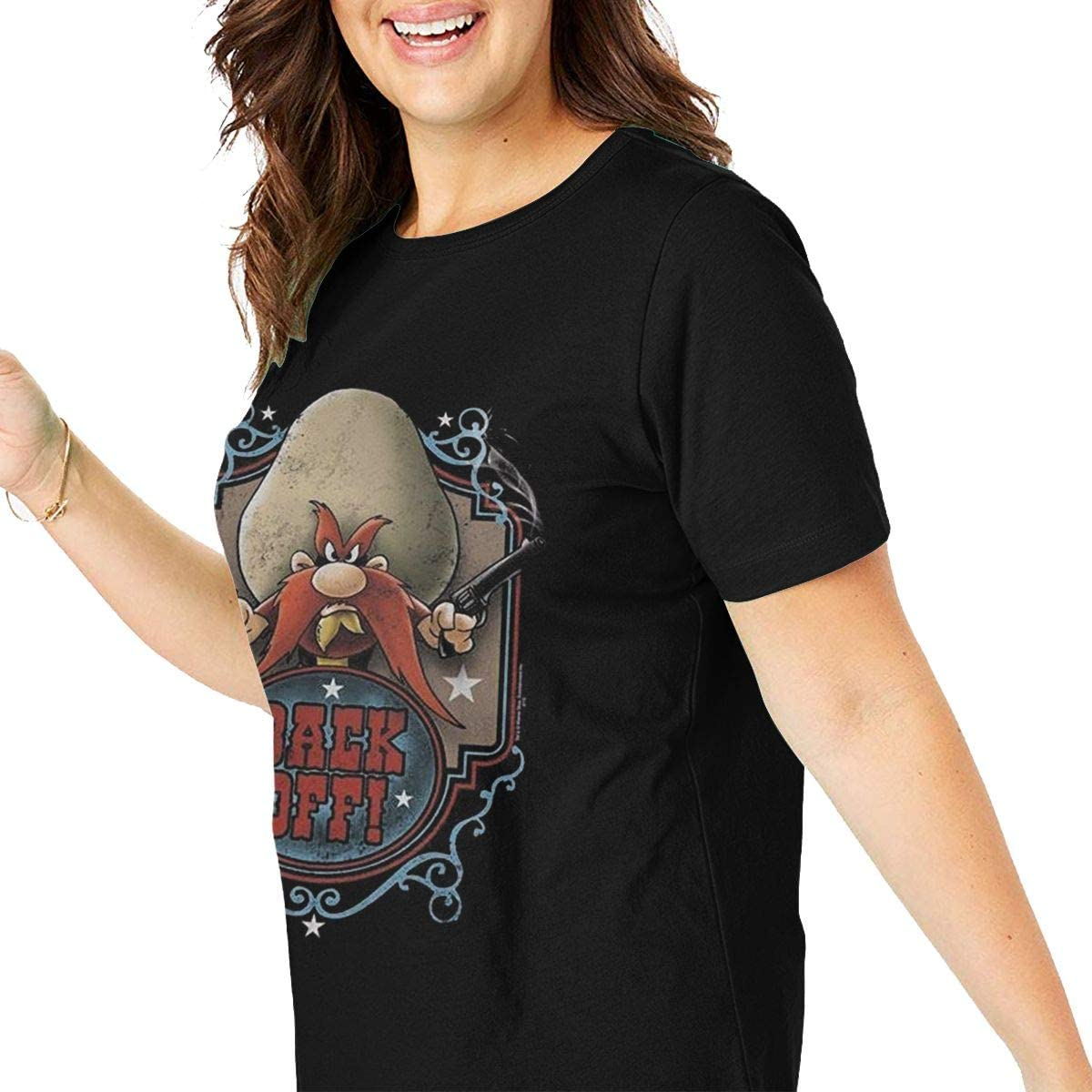 Looney-Tunes-Yosemite-Sam-Back-Off T-Shirt Womens Fashion Plus Size Fitness Athletic Yoga Tops Size XL-6XL