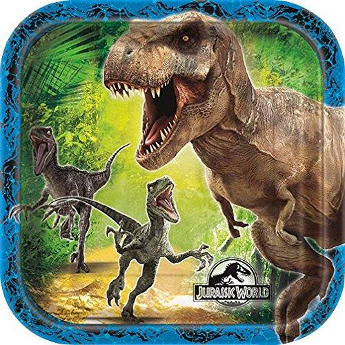 Square Jurassic World Dessert Plates, (Halloween Cake Decorations Games)