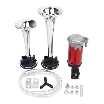 12v Compresor Trompeta Bocina De Aire Electricamente Para El Carro Del Coche Camion De Plata: Amazon.es: Coche y moto