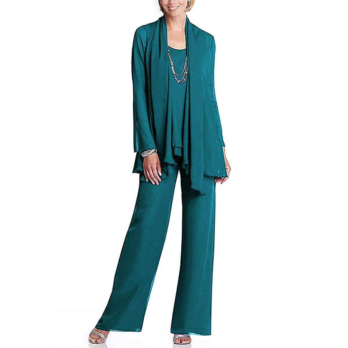 d1f035fdef7 Amazon.com  Landress Grandmother of Bride Beaded Outfit Pants Suit with  Jacket  Clothing