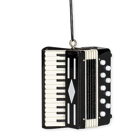 Black Accordion Music Instrument Replica Christmas Ornament, Size 3 inch