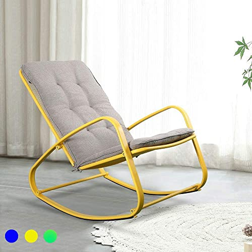 LUCKWIND Outdoor Patio Rocker Chair Metal Wide Ergonomic High Back Supportive Cushioned Fold Reclining Glider for Porch Balcony Yard Deck Yellow