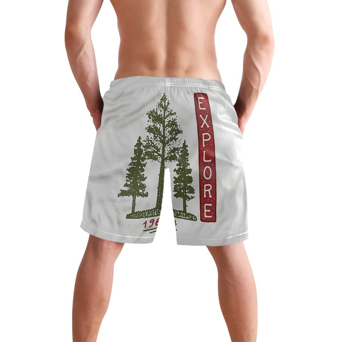 COVASA Mens Summer ShortsConiferous Tree Sketch