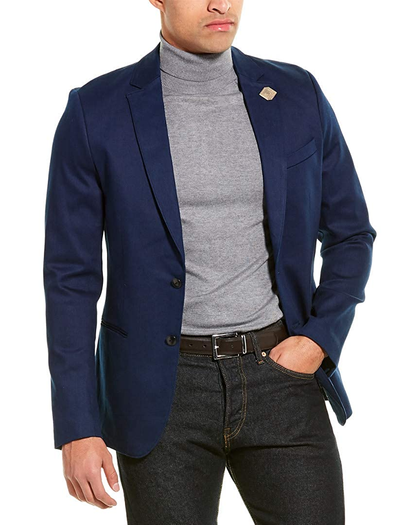 Scotch /& Soda Mens Stretch Slim Fit Blazer L Blue