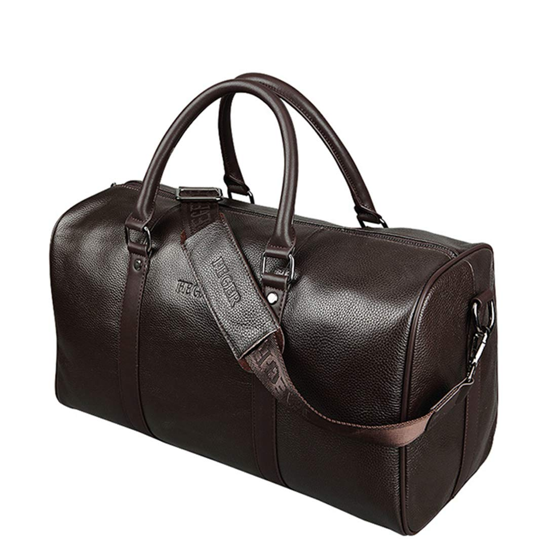 Extra Large Bag Genuine Leather Business Mens Travel Bag Popular Design Duffle H bag BROWN HasSidePocket