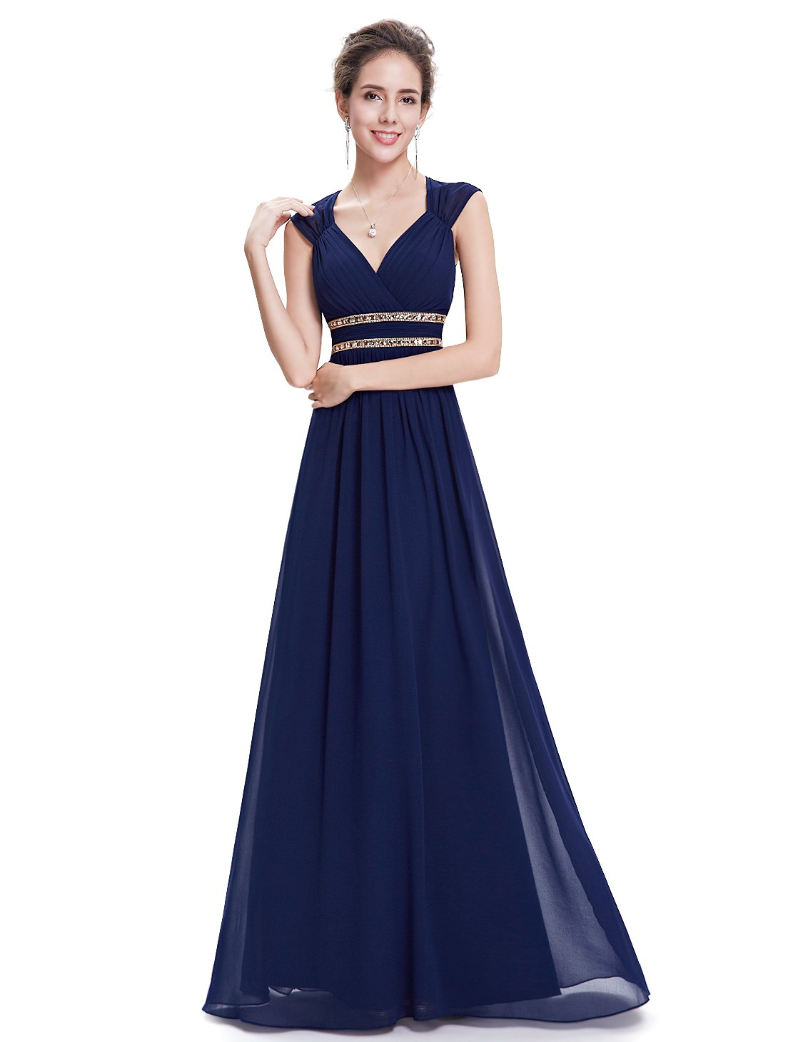Ever-Pretty Womens Floor Length Beaded Grecian Style Military Ball Dress 6 US Navy Blue by Ever-Pretty (Image #3)