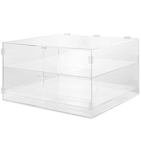 BestEquip Acrylic Display Case 21 x 18 x 12Inch Clear Display Cases 2 Tier Retail Display Cases for Cakes Donuts Cupcakes Pastries