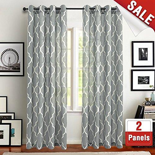 Cheap  jinchan Moroccan Tile Design Linen Curtain Textured Lattice Curtain Grommet Top Window..
