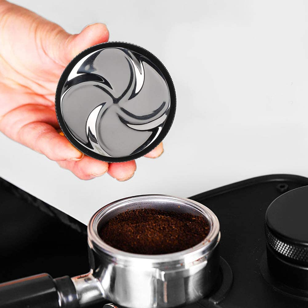 Black 58mm Coffee Tamper Beautiful Bottom Stainless Steel Coffee Espresso Tamper Espresso Hand Tamper for Home Coffee Shop Use