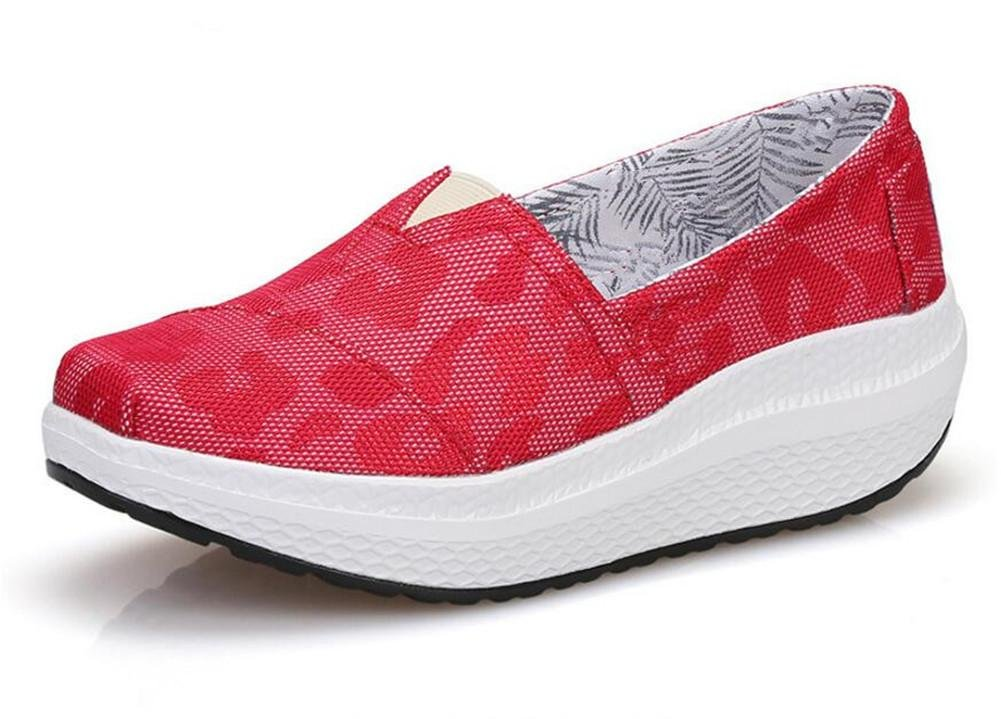 XIE Primavera Y Verano Señoras Tacones De Cuña Sacudir Zapatos De Malla Respirable De Ocio Deportiva Zapatos Mujer Único Zapatos, 1708-1 Red, 36 36|1708-1 red
