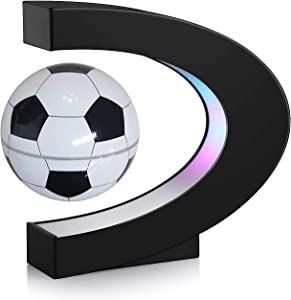TeaMaX Magnetic Levitation Floating Football with C Shape Base, Best Business Men Gift, Floating Football with LED Lights, Fathers Students Teacher Birthday Gift