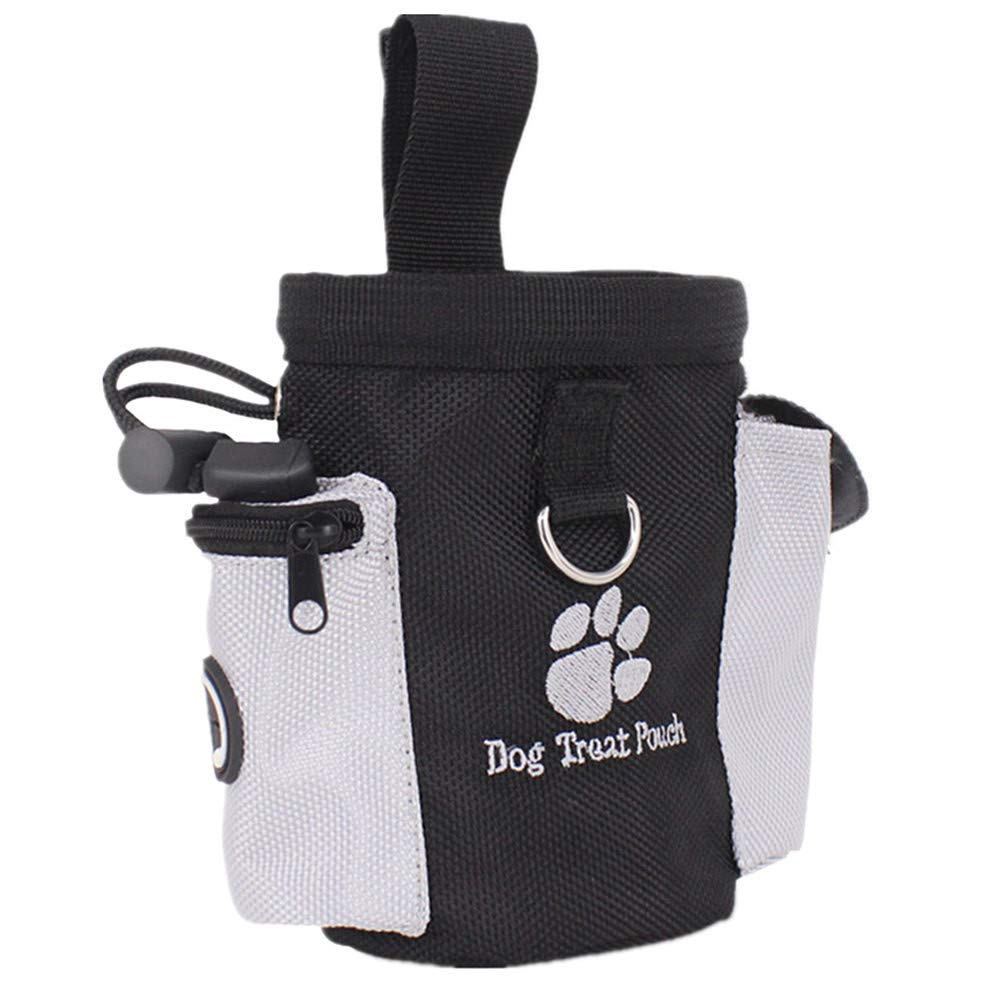 Weite Dog Treat Training Pouch, Hands Free Training Waist Clip Bag, Drawstring Carries Pet Toys Food Poop Bag Balls Keys Training Accessories (Black)