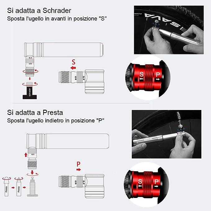 Compacta y Ligera Cambio R/ápido de V/álvulas Presta y Schrader Proceso CNC 120 PSI Bomba de Bicicleta Manual Mini Bomba de Bicicleta con Kit de Reparaci/ón de Llantas de Bicicleta Confiable