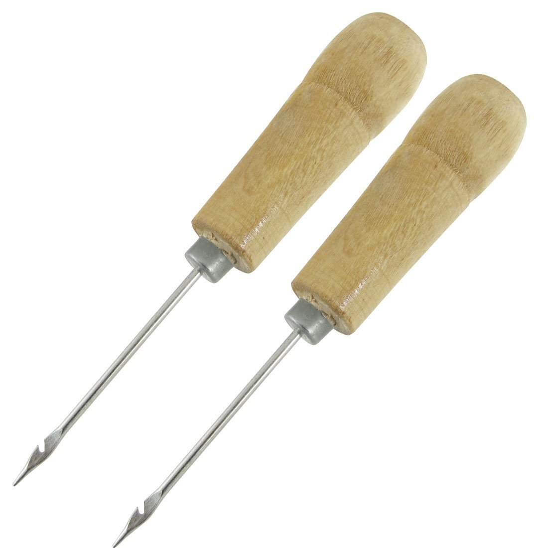 SODIAL(R) 2 Pcs Wooden Handle Sewing Awl Speedy Hand Stitcher New