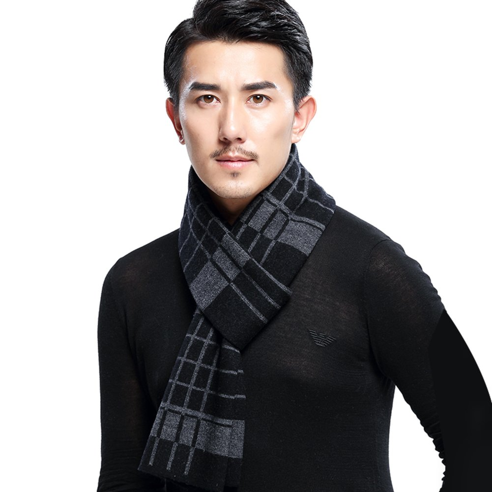 autumn and winter Plaid scarf thick warm fleece scarf Business casual long wool scarf-B One Size
