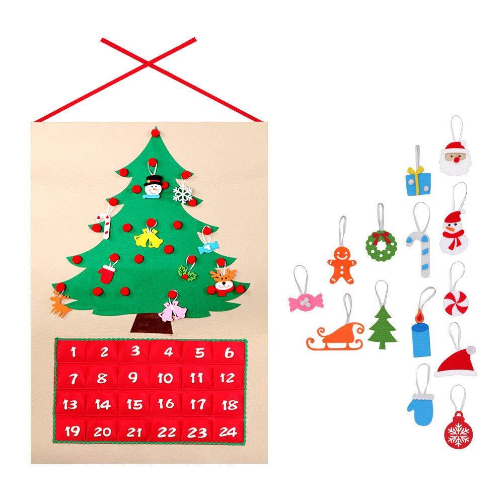 Majome Arbre de Noël Calendrier Calendrier Panneaux Kit Feutre Tissu Compte À rebours Arbre Holiday Home Decor