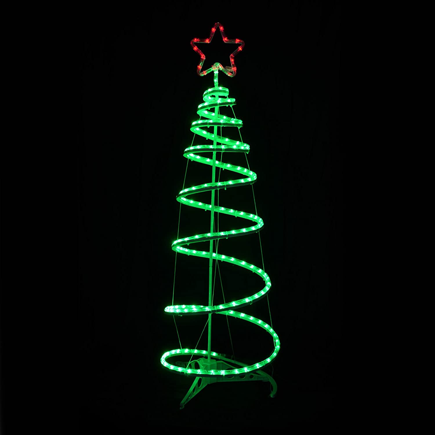 Green Spiral Tree Star LED Rope Light 120cm Christmas Decoration ...