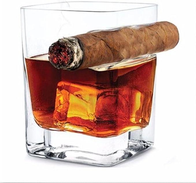 Diadia Vaso de Whisky con Soporte para Cigarrillos – Vaso de ...